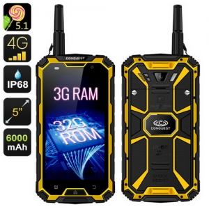 CONQUEST S8 4GB RAM 64GB ROM IP68 Waterproof Shockproof Walkie Talkie 6000mAh GPS NFC PTT 4G LTE Phone