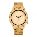BOBO BIRD Bamboo Wood Men Luxury Watch With Engrave Flower Bamboo Band Quartz Casual Women Watch In Gift Box