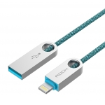 ROCK 100cm Zinc Alloy Nylon Light Cable for iPhone Phone sync usb cable  date USB Cable