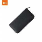 Xiaomi mijia 90 Points Mens Wallet Leather Purse Long Wallet Cowhide Leather Black Zipper Men Clutches